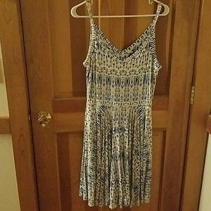 Blue, tan, white dress